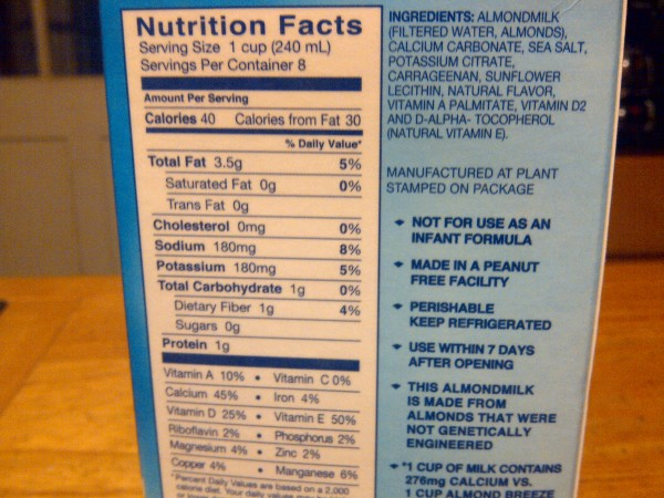 Almond Milk - Nutrition